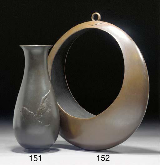 A Japanese bronze slender pear