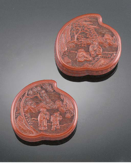 Two Chinese cinnabar lacquer p