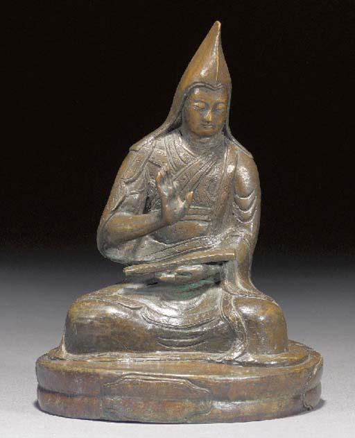 A Tibetan bronze Lama 17/18th