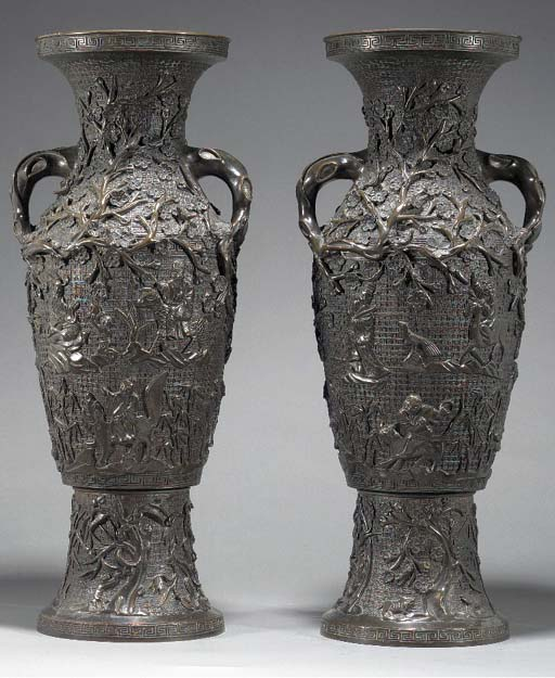 A large pair of Chinese bronze