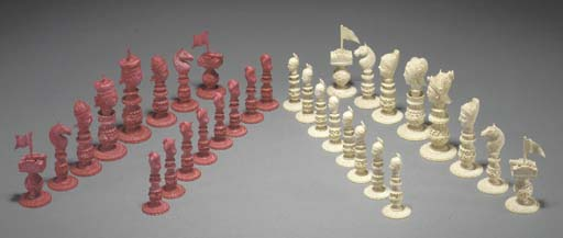 A Macau ivory chess set 19th c