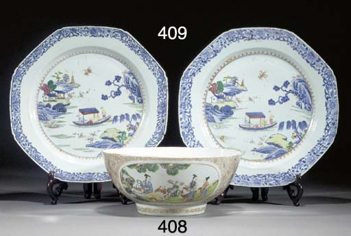 A famille rose punch bowl Qian