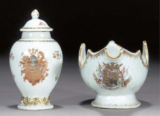 A famille rose armorial silver