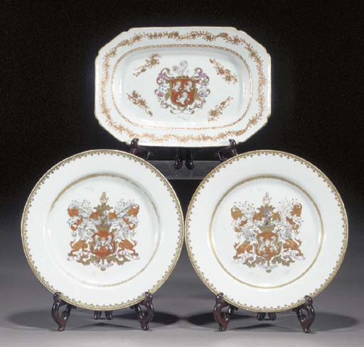 A pair of Chinese armorial pla