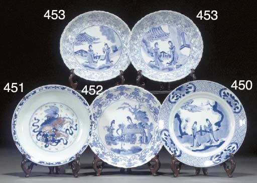 Eight Chinese blue and white p