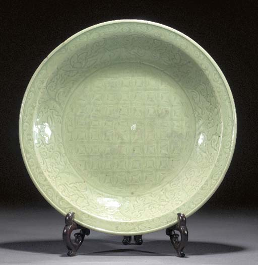 A large Ming celadon glazed ch