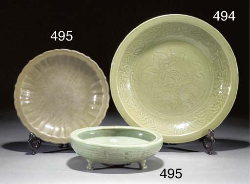 A Ming celadon glazed charger