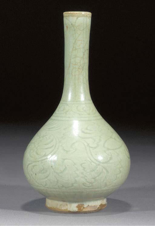 A Ming pale celadon glazed bot
