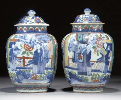 A pair of Chinese clobbered bl