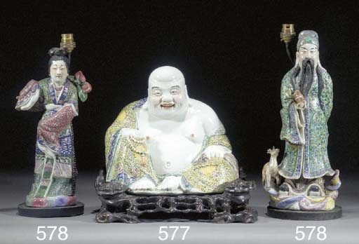 A famille rose model of Budai
