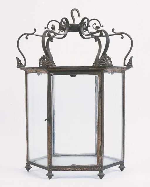 A Regency brass hall lantern