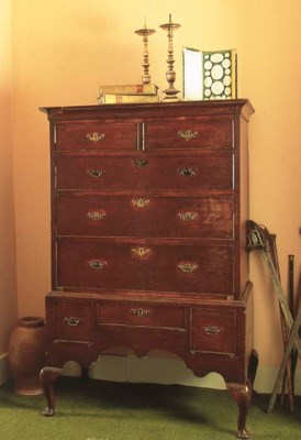 An oak chest-on-stand