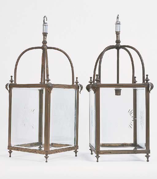A pair of English brass hall l