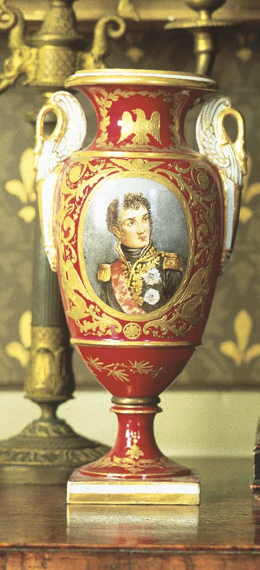 A pair of Sevres-style claret-