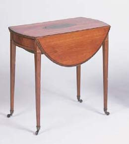 A George III satinwood banded and strung Pembroke table