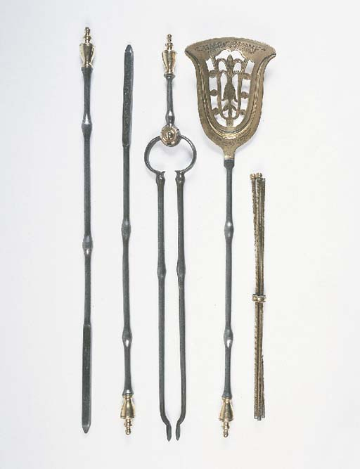 A set of four steel and brass
