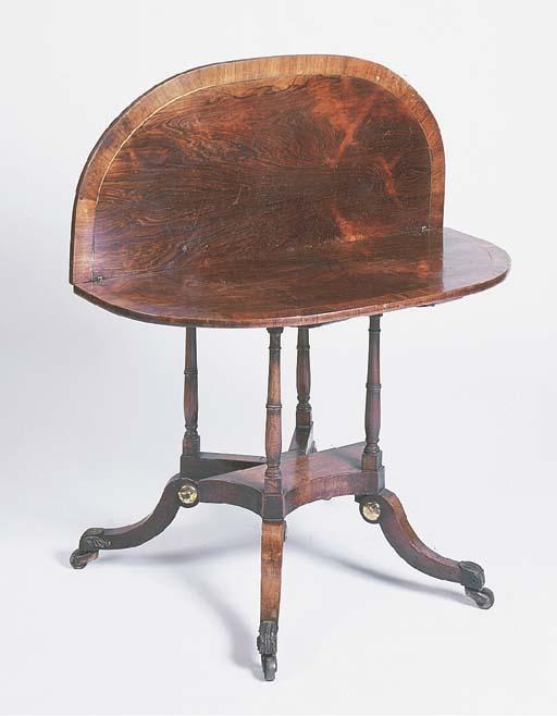 A Regency rosewood D-shaped te