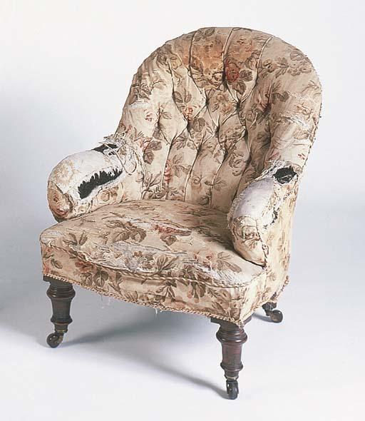 A Victorian walnut armchair