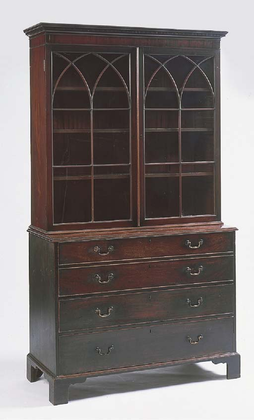 A mahogany bookcase on chest