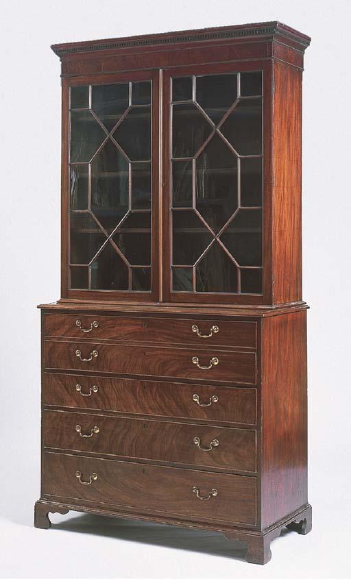 A George III mahogany secretaire-bookcase