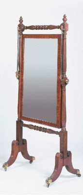 A late Regency mahogany cheval