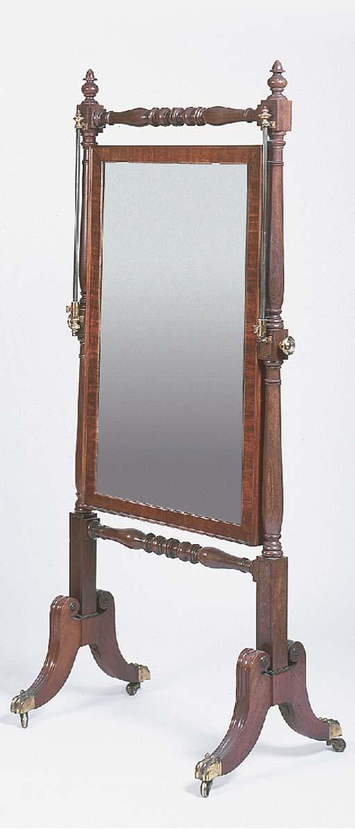 A late Regency mahogany cheval mirror