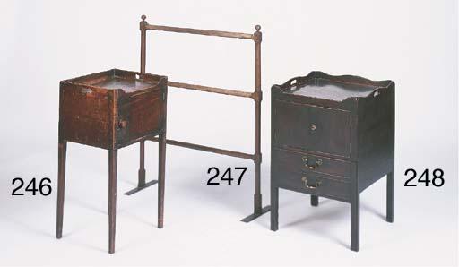 A George III mahogany tray top pot cupboard
