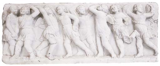 A North European sculpted white marble relief panel