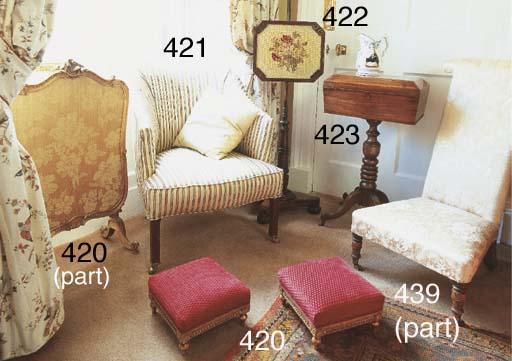 A pair of giltwood stools