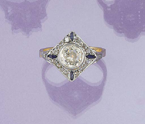 A diamond and sapphire ring,
