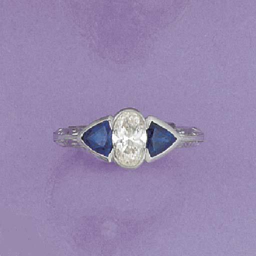 An oval diamond and triangular