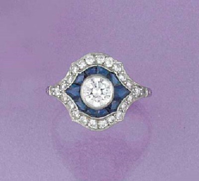 A diamond and sapphire cluster
