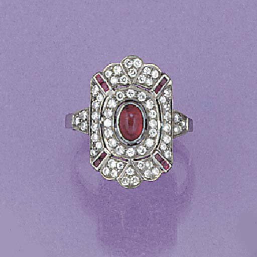 A ruby and diamond panel ring,
