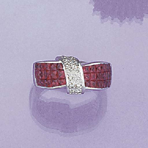 A fancy square-cut ruby band r