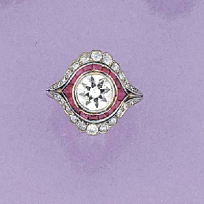 A diamond and ruby ring,