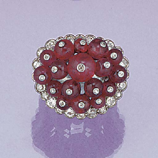 A diamond and ruby bead cluste