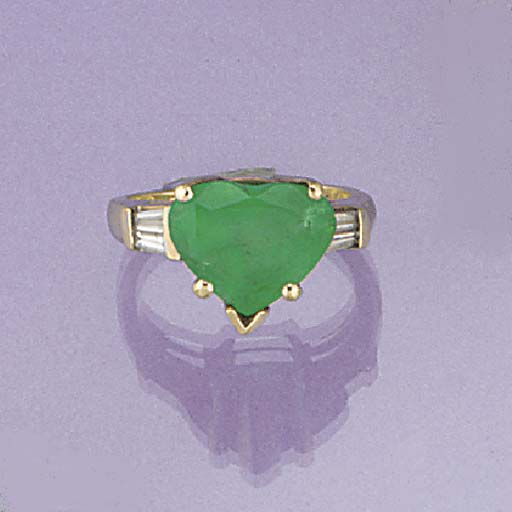 A heart shaped emerald and bag