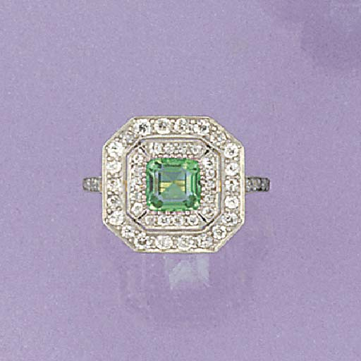 An emerald and diamond octagon
