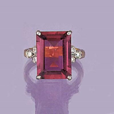 A rectangular pink tourmaline