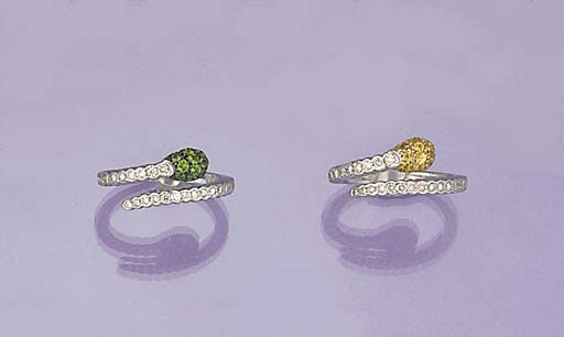 A pair of diamond and gem ring