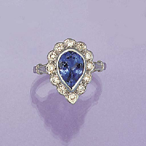 A drop-cut tanzanite and diamo