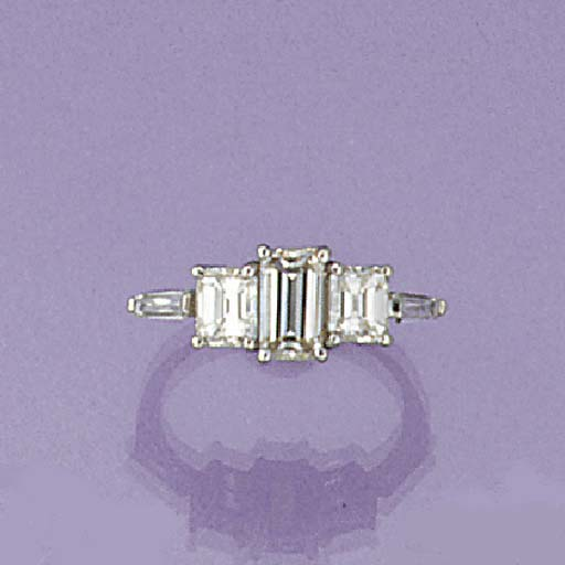 A rectangular cut diamond thre