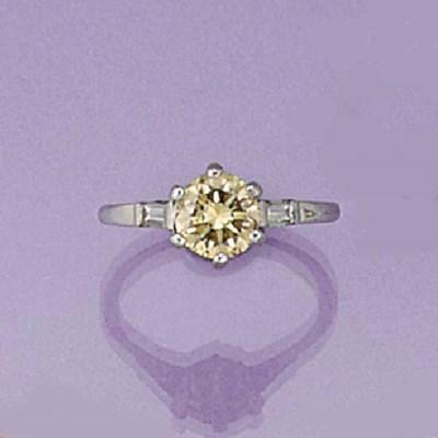 A tinted diamond single stone