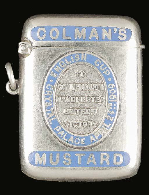 A white-metal vesta case, with