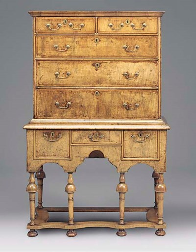 A WALNUT CHEST ON STAND, EARLY