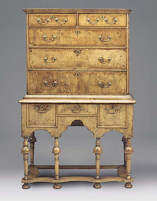 A WALNUT CHEST ON STAND, EARLY 18TH CENTURY AND LATER