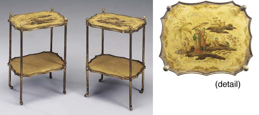 A PAIR OF CREAM CHINOISERIE DECORATED JAPANNED TWO TIER ETAGERES, 19TH CENTURY, IN THE BRIGHTON PAVILION TASTE