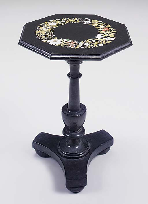 A MARBLE AND PIETRA DURA OCTAGONAL OCCASIONAL TABLE, 19TH CENTURY