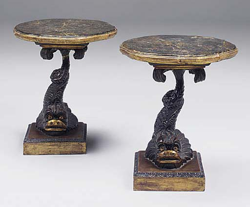 A PAIR OF VENETIAN GILT AND DECORATED DOLPHIN LOW OCCASIONAL TABLES, 19TH CENTURY