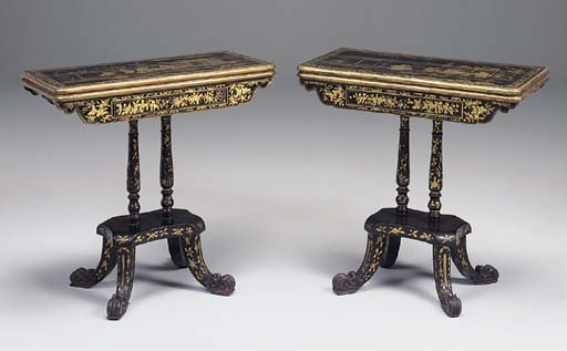 A PAIR OF CHINESE EXPORT LAQCUER GILT DECORATED CARD TABLES, 19TH CENTURY